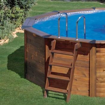 Detalle piscinas de madera. Piscinas Gre